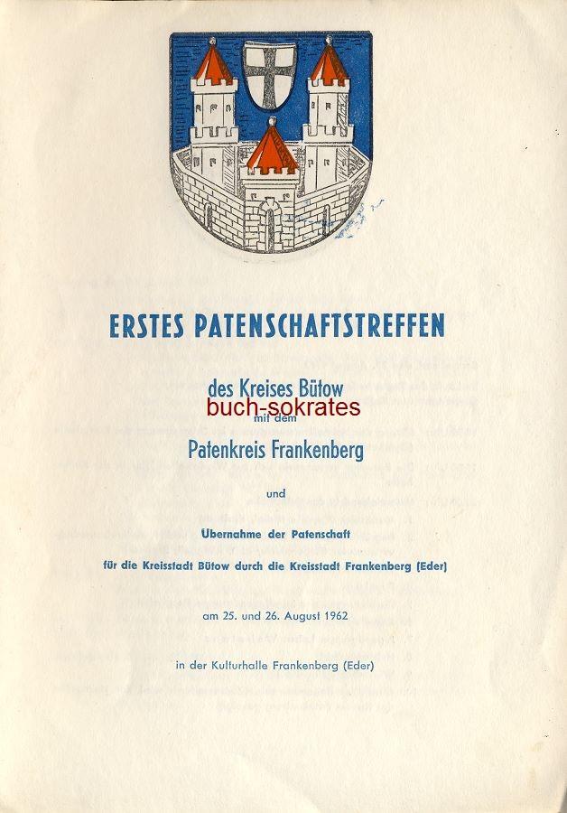 Karte: Erstes Patenschaftstreffen des Kreises Bütow mit dem Patenkreis Frankenberg (1962)