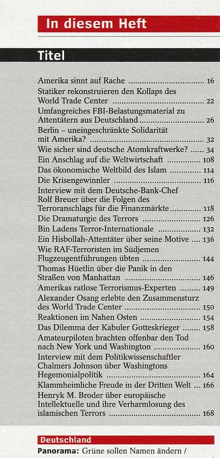 DER SPIEGEL: Der Terror-Angriff: Krieg im 21. Jahrhundert (2001)