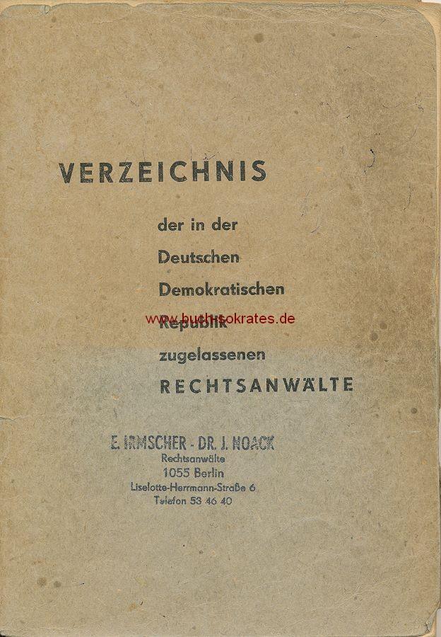 Verzeichnis der in der Deutschen Demokratischen Republik zugelassenen Rechtsanwälte (1975)