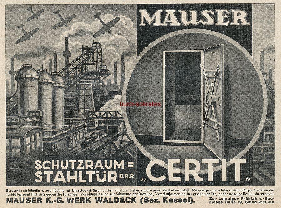 Werbung/Kleinanzeigen zum Luftschutz / Kriegsvorbereitung aus Architekturmagazin Baugilde - Mauser-Schutzraum-Stahltür Certit