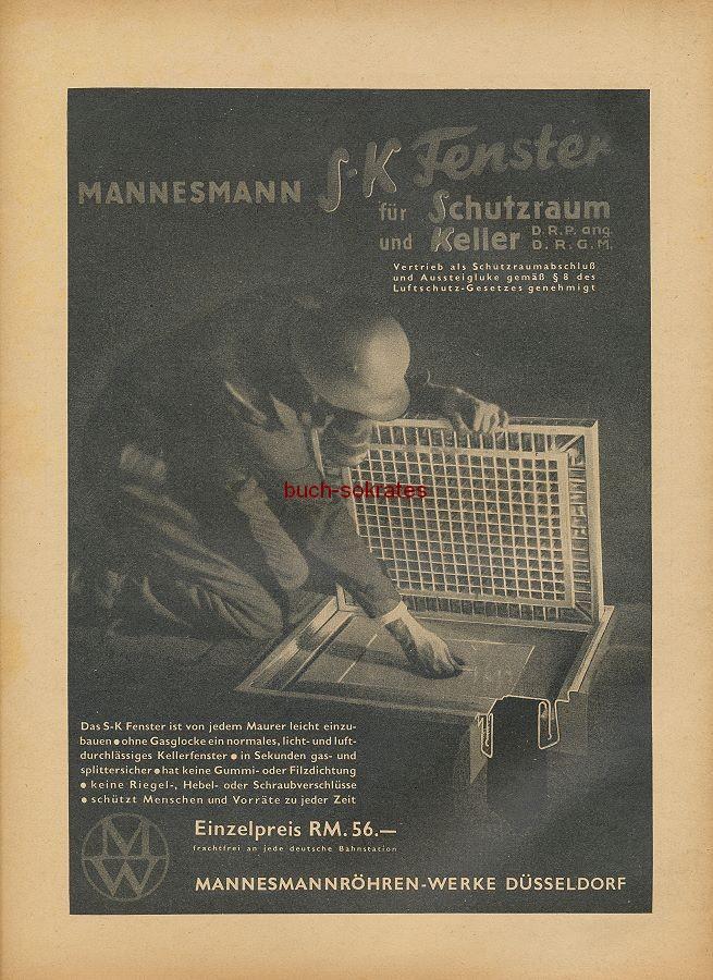 Werbung/Kleinanzeigen zum Luftschutz / Kriegsvorbereitung aus Architekturmagazin Baugilde - Mannesmann SK-Fenster für Schutzraum und Keller