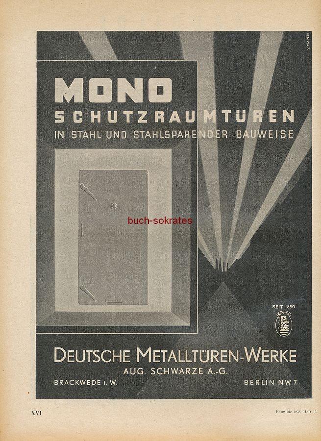 Werbung/Kleinanzeigen zum Luftschutz / Kriegsvorbereitung aus Architekturmagazin Baugilde - Mono-Schutzraumtüren