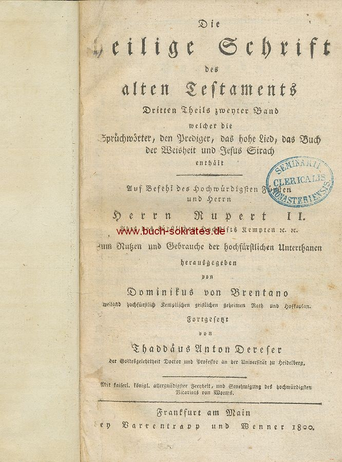 Dominikus von Brentano: Die Heilige Schrift des alten Testaments (1800)