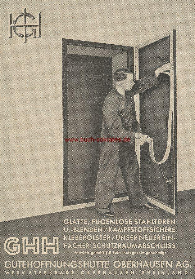 Werbung/Kleinanzeigen zum Luftschutz / Kriegsvorbereitung aus Architekturmagazin Baugilde - Gutehoffnungshütte Oberhausen / GHH Stahltüren, kampfstoffsichere Klebepolster