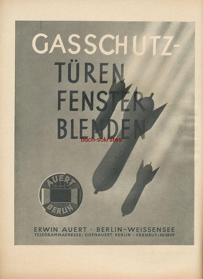 Werbung/Kleinanzeigen zum Luftschutz / Kriegsvorbereitung aus Architekturmagazin Baugilde - Auert-Gasschutzüren/-fenster/-blenden
