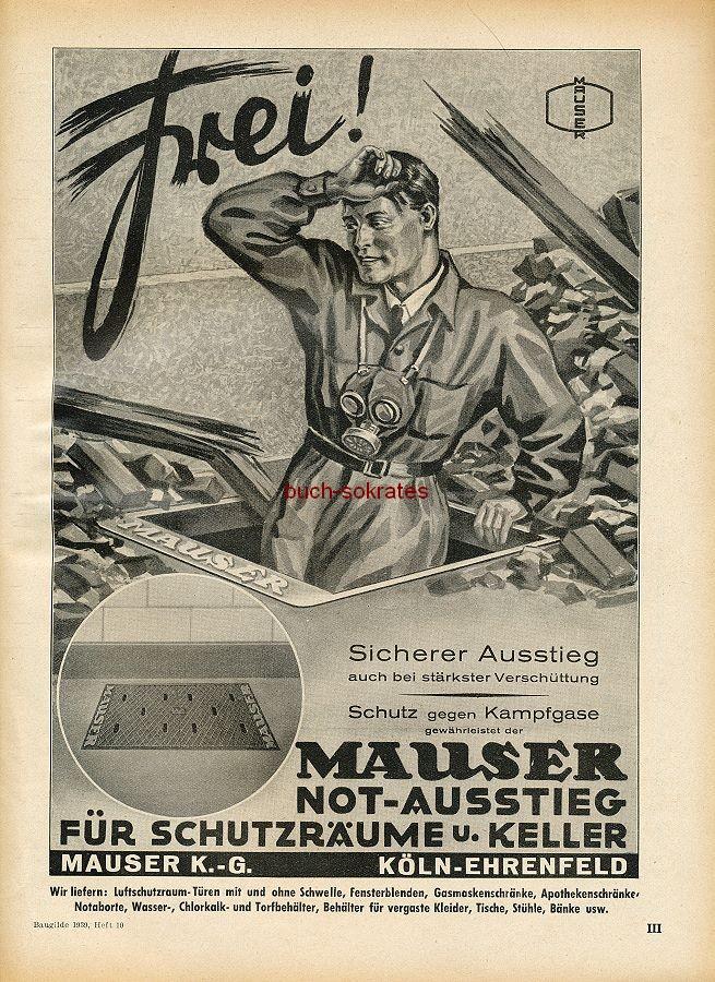 Werbung/Kleinanzeigen zum Luftschutz / Kriegsvorbereitung aus Architekturmagazin Baugilde - Mauser-Notausstieg