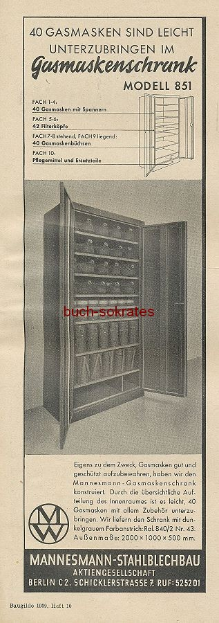 Werbung/Kleinanzeigen zum Luftschutz / Kriegsvorbereitung aus Architekturmagazin Baugilde - Mannesmann Gasmaskenschrank