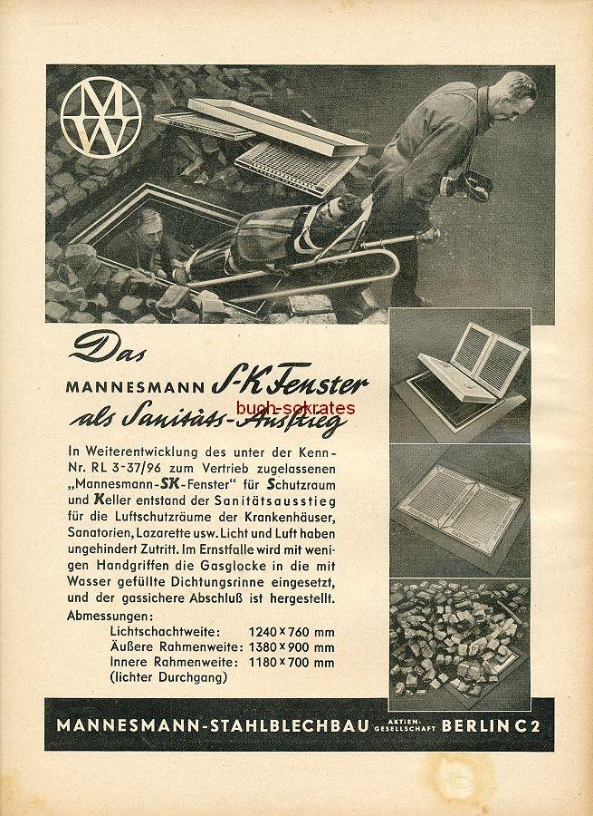Werbung/Kleinanzeigen zum Luftschutz / Kriegsvorbereitung aus Architekturmagazin Baugilde - Mannesmann SK-Fenster als Sanitäts-Ausstieg