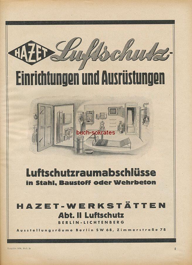 Werbung/Kleinanzeigen zum Luftschutz / Kriegsvorbereitung aus Architekturmagazin Baugilde - Hazet-Luftschutz-Einrichtungen und Ausrüstungen