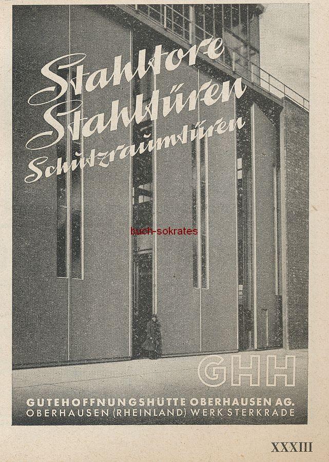 Werbung/Kleinanzeigen zum Luftschutz / Kriegsvorbereitung aus Architekturmagazin Baugilde - Gutehoffnungshütte Oberhausen / GHH Stahltore, Stahltüren