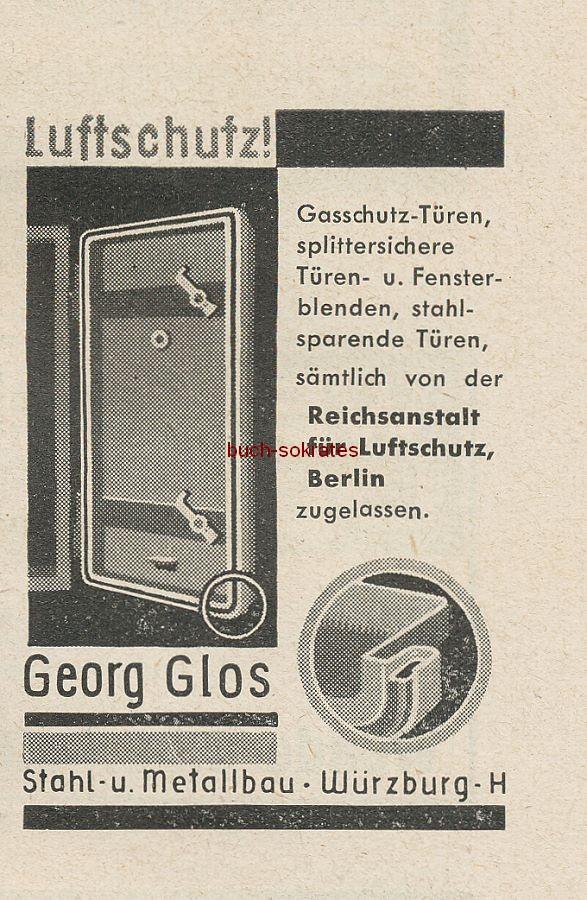 Werbung/Kleinanzeigen zum Luftschutz / Kriegsvorbereitung aus Architekturmagazin Baugilde - Georg Glos Gasschutztüren