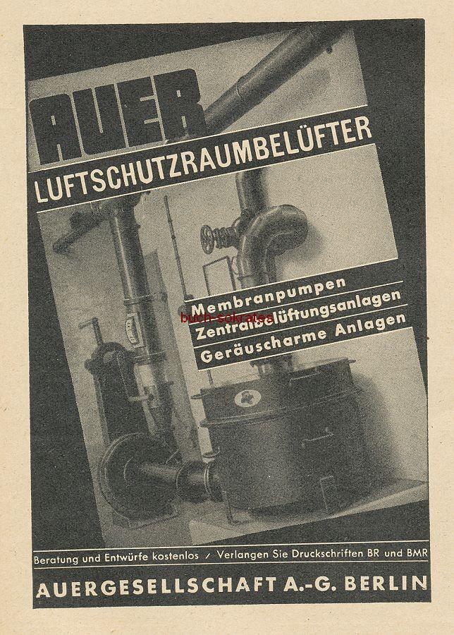 Werbung/Kleinanzeigen zum Luftschutz / Kriegsvorbereitung aus Architekturmagazin Baugilde - Klement Stahltore, Stahltüren / Stahl-Schanz: Gasschutztüren