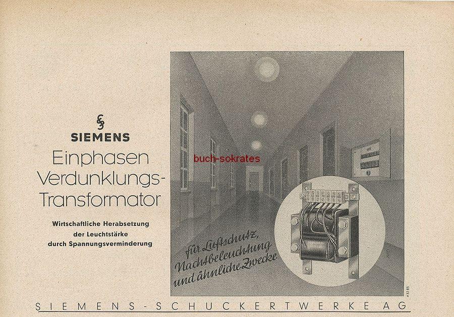 Werbung/Kleinanzeigen zum Luftschutz / Kriegsvorbereitung aus Architekturmagazin Baugilde - Siemens Einphasen-Verdunklungs-Transformator