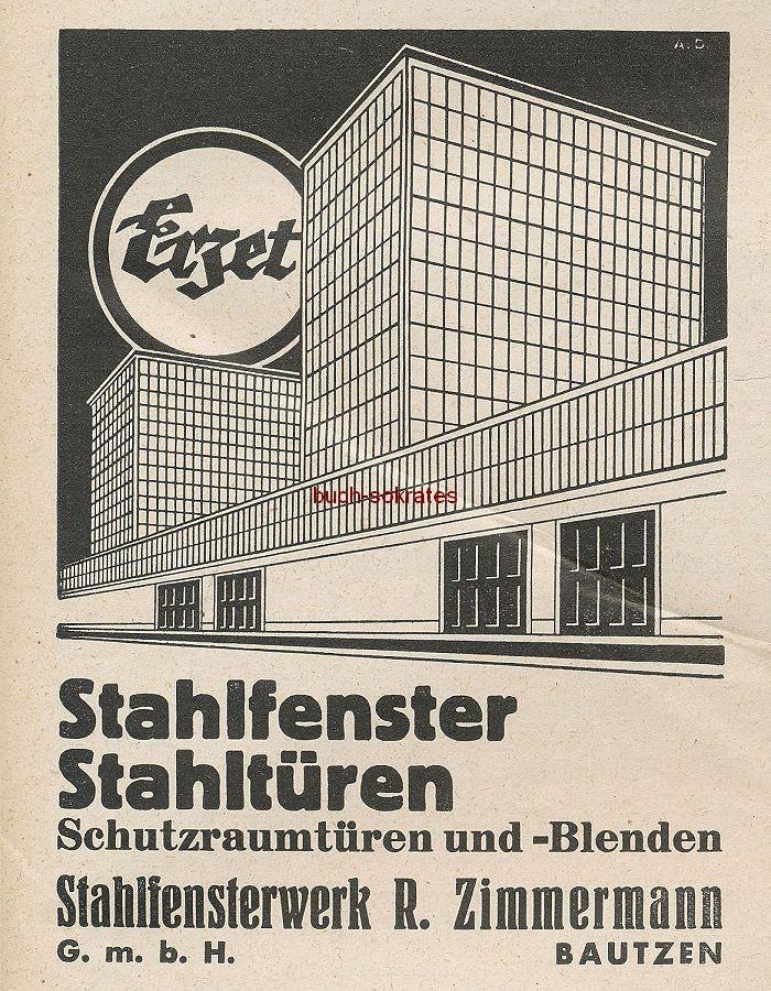 Werbung/Kleinanzeigen zum Luftschutz / Kriegsvorbereitung aus Architekturmagazin Baugilde - Erzet Stahlfenster / Stahltüren
