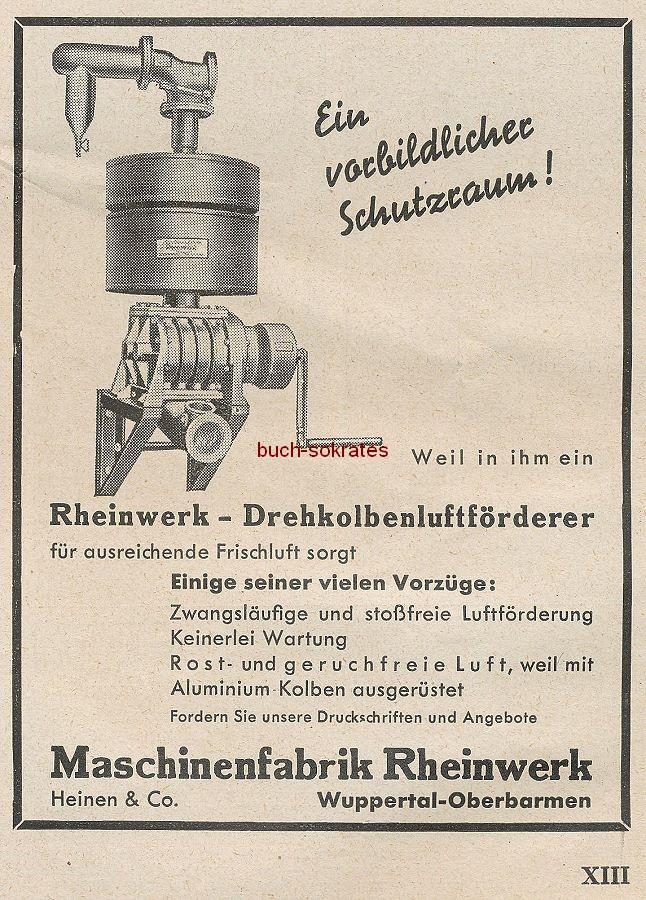 Werbung/Kleinanzeigen zum Luftschutz / Kriegsvorbereitung aus Architekturmagazin Baugilde - Rheinwerk-Drehkolbenluftförderer