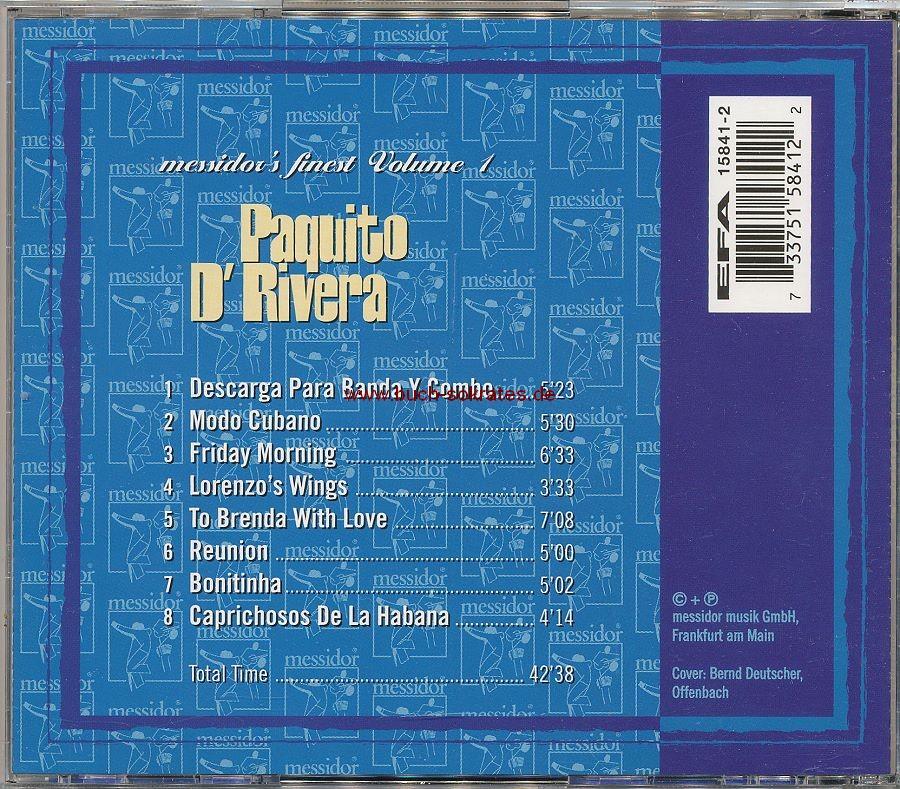 Paquito D Rivera: messidor s finest, Volume 1 (1996)