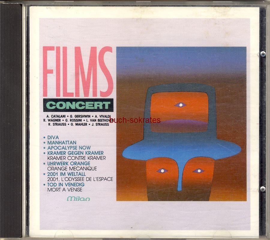 Audio-CD Films Concert. Musik aus Diva, Manhattan, Kramer gegen Kramer, Apocalypse now, Uhrwerk Orange, 2001, Odyssee im Weltraum, Tod in Venedig (Milan, 1987, 3299031035120)
