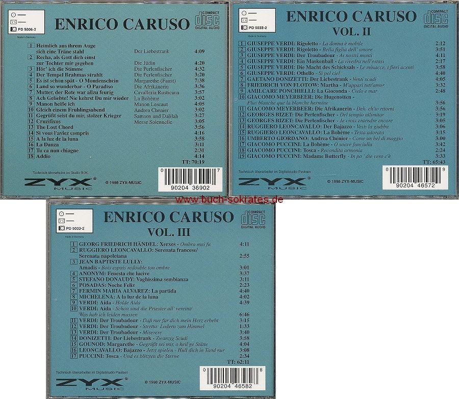 3 CDs: Enrico Caruso: Enrico Caruso + Enrico Caruso II + Enrico Caruso III (1998)