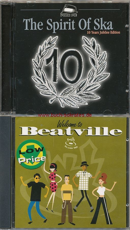 2 CDs: div.: The Spirit of Ska. 10 Years Jubilee Edition + div.: Welcome to Beatville. 18 Tasty Morsels from the Beatville Catalog (EFA; 1999)