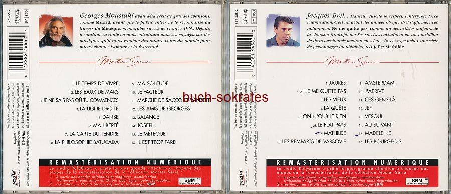 Audio-CD Französischer Chanson: Georges Moustaki: Master Serie / Jacques Brel: Master Serie Vol. 1 (Podis / Polygram, 1998)