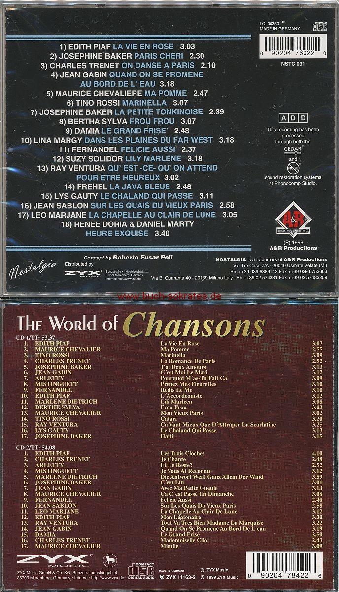 2 CDs: div.: Café de Paris (1998) + div.: Chansons (1999)