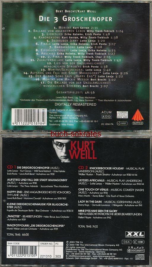 Audio-CD Bert Brecht / Kurt Weill: Die 3 Groschenoper / Kurt Weill: Kurt Weill (1998/2003)