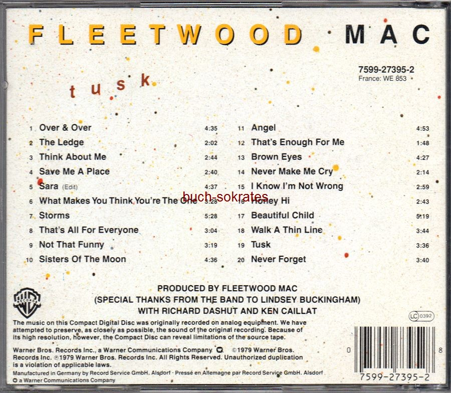 Audio-CD Fleetwood Mac: Tusk - 2 Record Set on 1 Specially-Priced Disc (Warner Bros., 1979, 20 tracks)