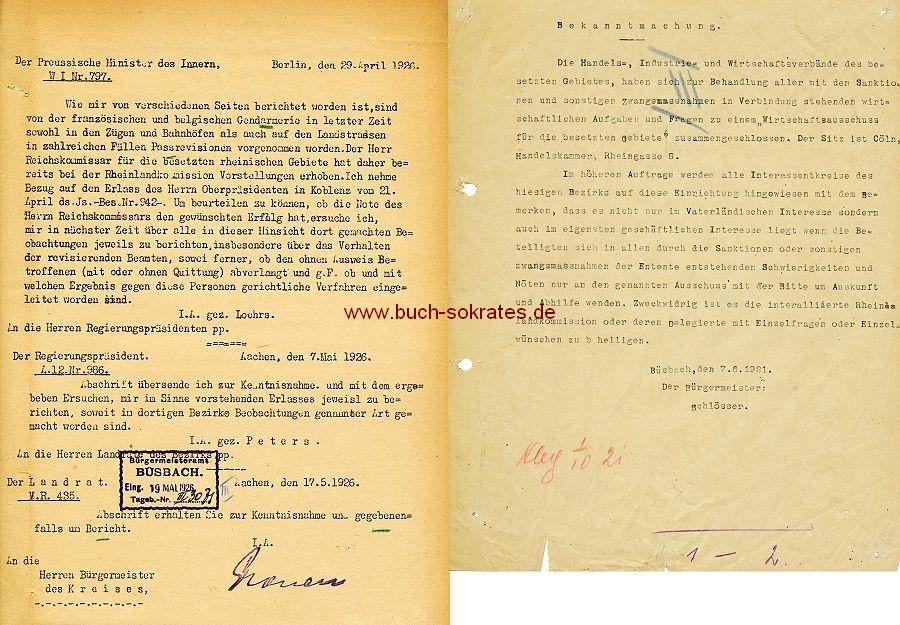 Dokument Rheinland während der Besatzungszeit (1921/26)