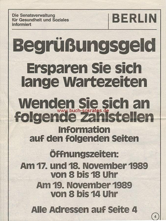 Dokument Info-Beilage zum Begrüßungsgeld - Mauerfall / Deutsche Einheit (1989)