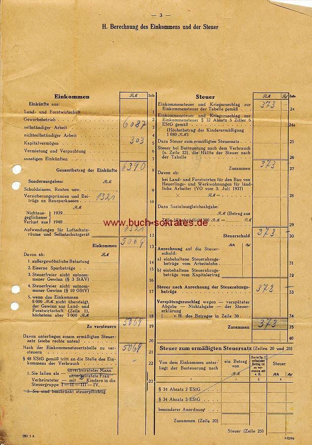Dokument 2 Bescheide Einkommen u. Einkommenssteuer (1941-42)