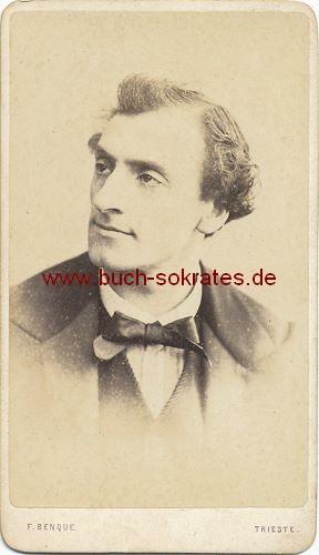 CdV Foto Mann mittleren Alters aus Trieste / Triest (Italien) im Dreiviertel-Profil (ca. 1870)