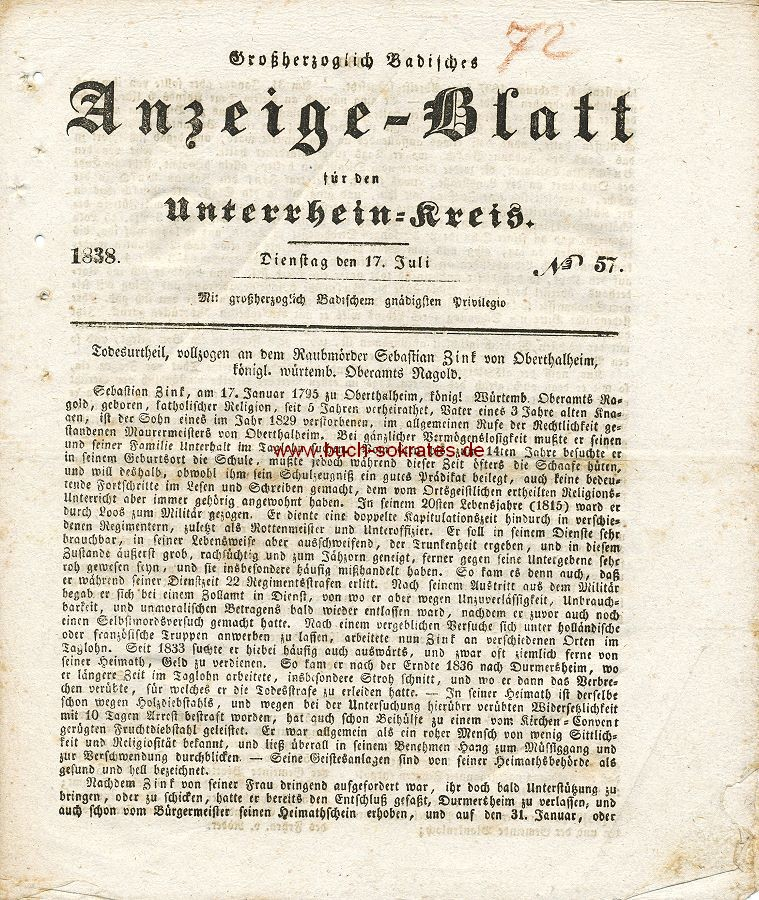 Zeitung Anzeige-Blatt für den Unterrhein-Kreis (1838)