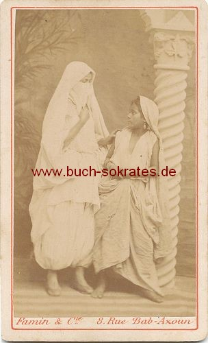 CdV Foto 2 junge Frauen aus Algier / Alger / Algerien (ca. 1870)