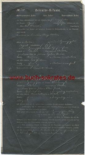Auszug aus dem Heirats-Register Aachen recto