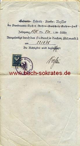 Auszug aus dem Heirats-Register Aachen verso