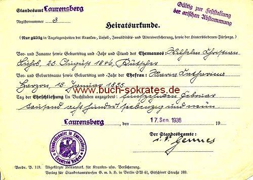 Heiratsurkunde von 1936 Aachen Laurensberg