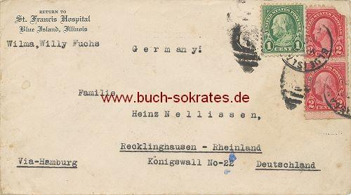 Briefumschlag St. Francis Hospital aus Blue Island, Illinois (USA) nach Recklinghausen (~1920)