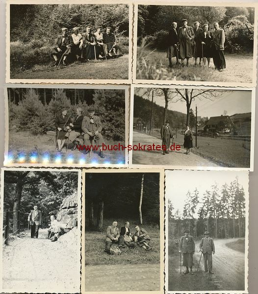 Foto 7 Fotos Personen aus Löbau / Sachsen auf Wanderschaft im Thüringer Wald (ca. 1950)
