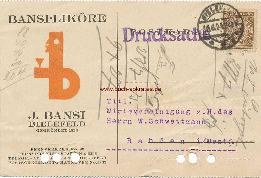 Dokument Postkarte Bansi-Liköre J. Bansi Bielefeld an Wirtevereinigung (1924)