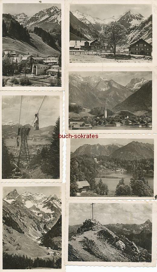 Fotos Kauffotos von Oberstdor: Nebelhornbahn, Spielmannsau mit Pension Berghof, Christlesee, Breitachklamm, Einödsbach, Nebelhorngipfel, Freibergsee (ca. 1945)