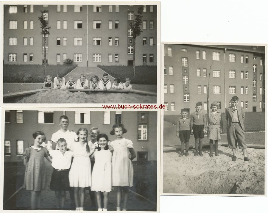 Foto Einige Kinder / Schlüsselkinder vor Plattenbau (1930-34)