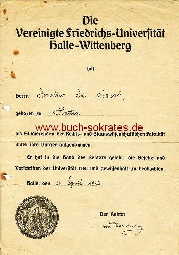 Dokument Rechts- und Staatswissenschaftliche Fakultät der Vereinigten Friedrichs-Universität Halle-Wittenberg