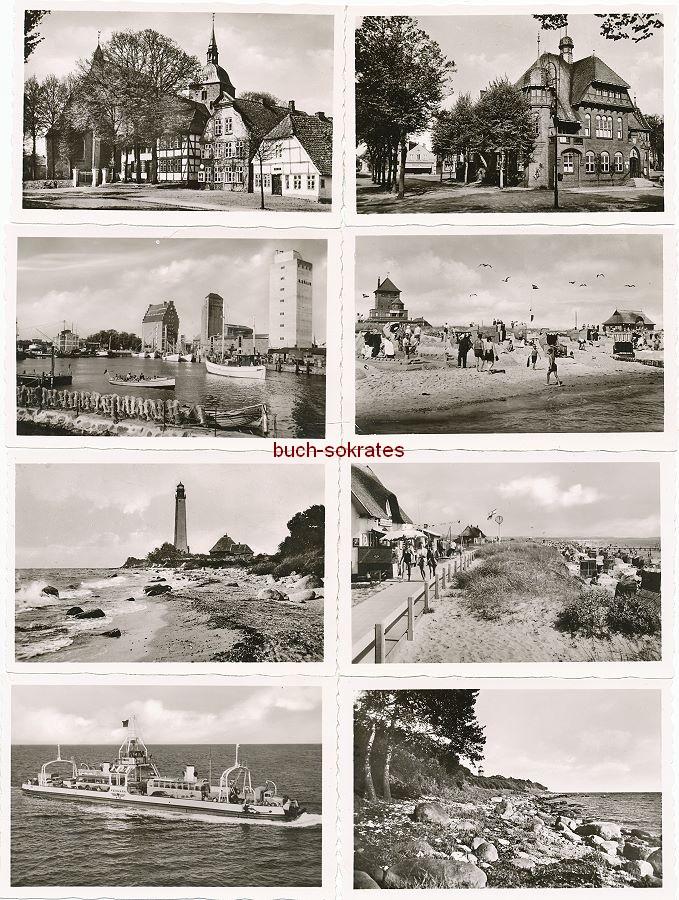 Foto Kauffotos Fehmarn: Hafen, Strand, Staberhuk, Burg, Rathaus, Fährschiff, Leuchtturm Flügge bei Orth, Kirche mit Museum, Katharinenhof (ca. 1965)