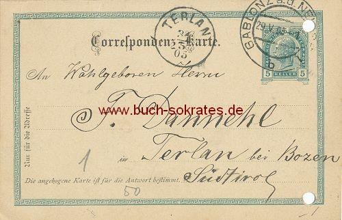 Postkarte Bestellung von Schmetterlingspuppen Gablonz / Terlan Südtirol (1905)