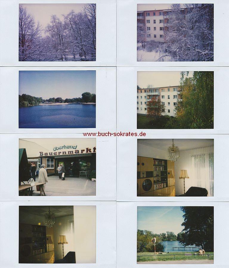 Foto 50 Sofortbilder in Polaroid-Ästhetik e. Frau aus Berlin-Weißensee: Haus/Wohnung (Nähe Weißer See - Piesporter Str.), Pfarrkirche, Bauernmarkt Schmachtenhagen, Obersee, Orankersee, Busch-Stadion, Woltersdorf (ca. 1990)