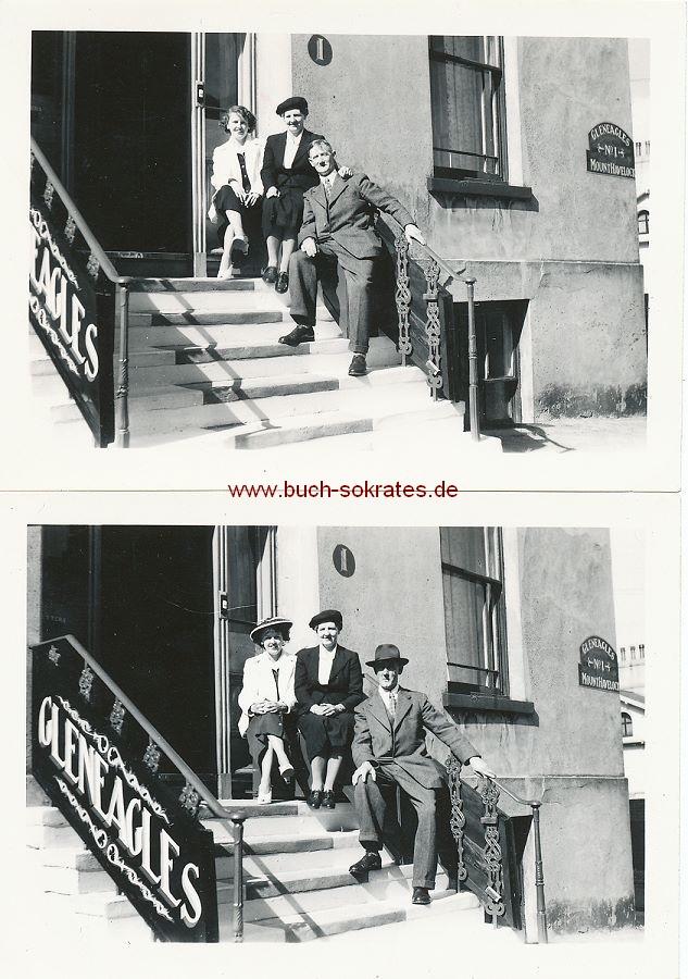 Foto Drei Personen vor dem Hotel Gleneagles Mount Havelock No.1 in Douglas / Isle of Man (1956)