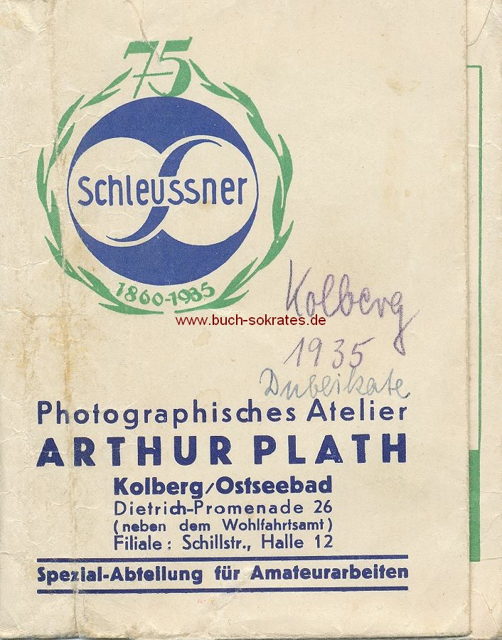 Fototasche / Fotohülle Firma Schlessner mit Firmenaufdruck Photographisches Atelier Arthur Plath, Kolberg/Ostseebad (ca. 1935)