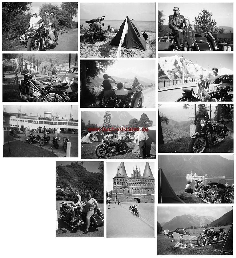 Konvolut 50 Negative BMW-Motorradgespann, NSU-Motorrad, Urlaub (ca. 1955)