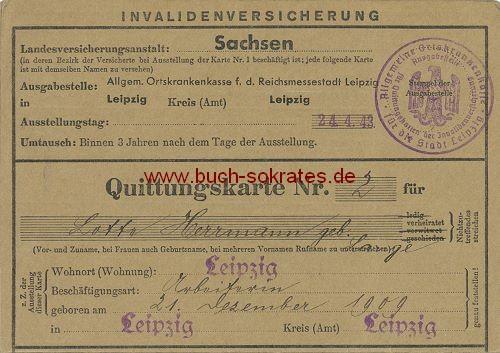 Quittungskarte Leipzig - Invalidenversicherung (1943-45)