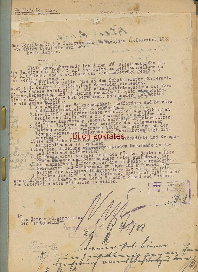 Dokumente Akte zum Deutschen Roten Kreuz / Büsbach aus den Jahren 1922-32 vom Wohlfahrtsamt der Gemeinde Büsbach (zu Stolberg bei Aachen): Entschädigung für Verkehrssperre in den besetzten Gebieten, Quartiere für die Besatzer, Entschädigungen für Rhein-Ruhr-Verdrängte Eisenbahner (1922-32)